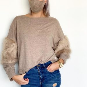 NUDE FAUX FUR JUMPER