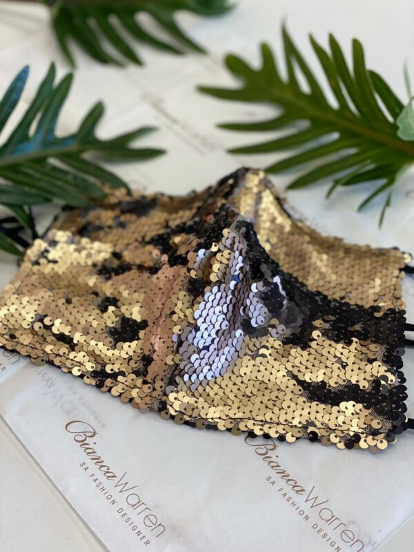 Midas gold sequin mask